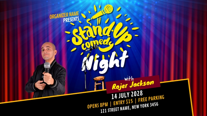 Stand Up Comedy Night Show Twitter-opslag template
