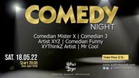 Stand up Comedy Night Show Event Microphon Видеообложка профиля Facebook (16:9) template