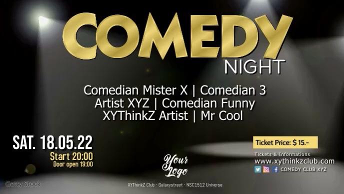Stand up Comedy Night Show Event Microphon Vídeo de capa do Facebook (16:9) template