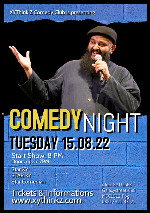 Stand up Comedy Night Show Flyer Poster Comedian A4 template