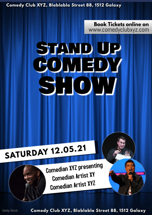 copy of stand up comedy night show flyer poster