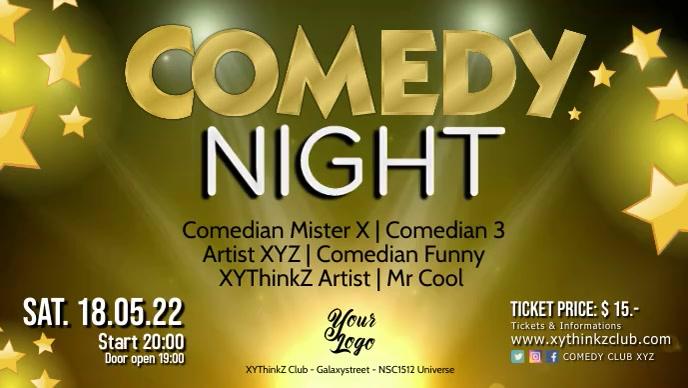 Stand up Comedy Night Show Video Event Stage Ikhava Yevidiyo ye-Facebook (16:9) template