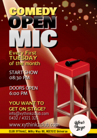 Stand up Comedy Open Stage Mic Flyer Poster