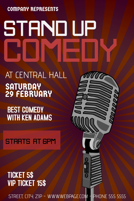stand up comedy flyer template postermywall