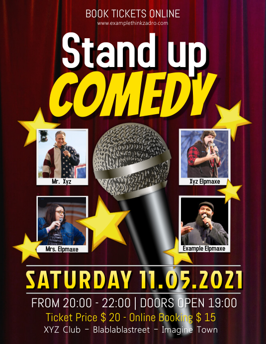 Stand up Comedy Show Flyer Iflaya (Incwadi ye-US) template