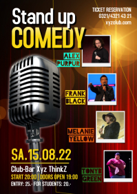 Stand Up Comedy Show Flyer Poster A4 template