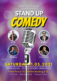 Stand up Comedy Show Flyer Poster Invitation A4 template