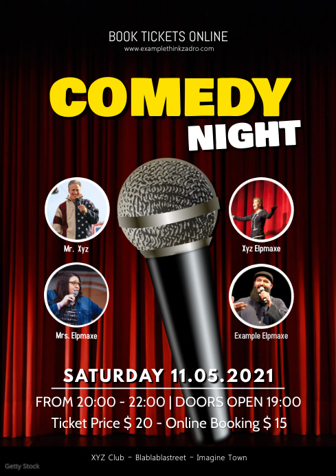 Stand up Comedy Show Flyer Poster Night Ad A4 template