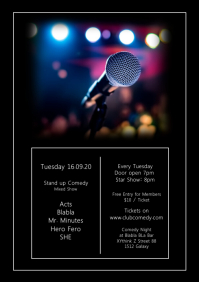Stand up Comedy Template Event Bar Club Ad A4
