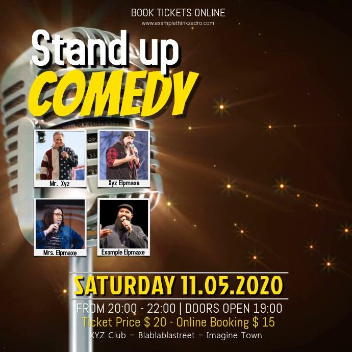 Stand up Comedy Video Event Facebook Instagram Post Quadrado (1:1) template