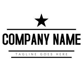 Star and stripes black and white minimal logo