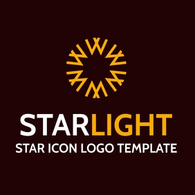 star icon logo white and yellow orange colors template