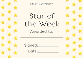 Star of the Week Award Template A4