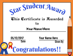 Star Student Award. School Diploma Template   PosterMyWall