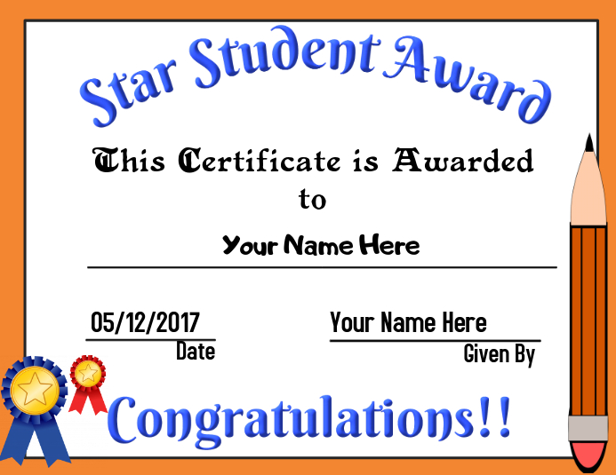Star Student Award Template Postermywall