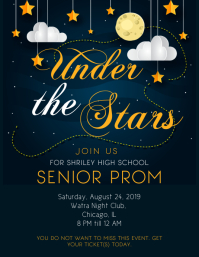 Star Themed Prom Party Flyer Volante (Carta US) template