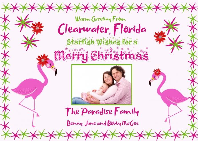 Starfish Wishes Christmas Photo Card Postcard template