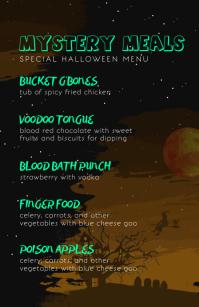 Starry Night Flyer Halloween Menu Half Page Wide template