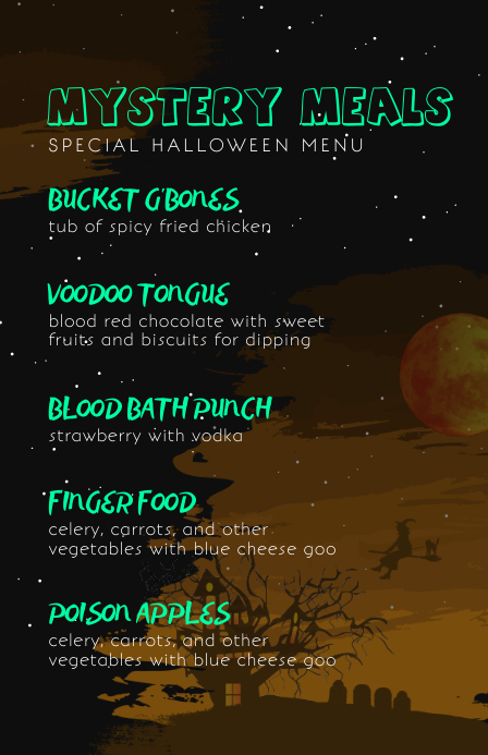 Starry Night Flyer Halloween Menu