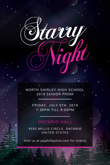 Starry Night Themed Prom Night Poster