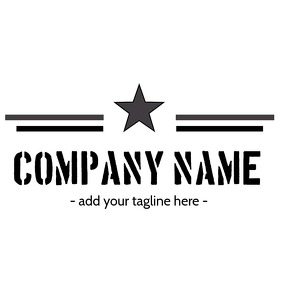 Stars and stripes black and white logo Logótipo template