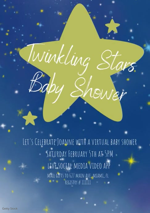 Stars Baby Shower Invitations A4 template