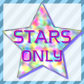 STARS ONLY - pink and striped blue background