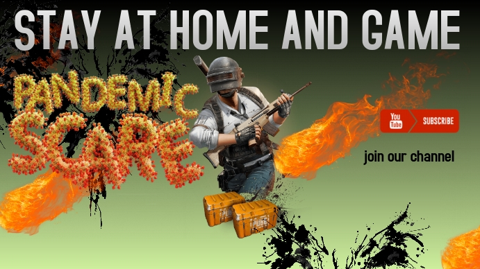 Stay at home and game YouTube Channel Cover Photo template