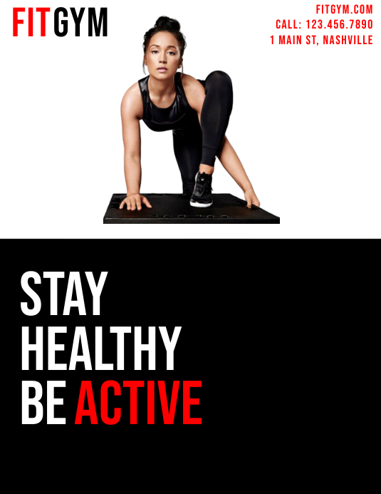 Stay Healthy, Be Active Fitness Flyer