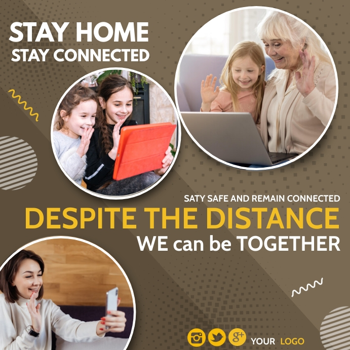 stay home,Stay Connected,work from home Pos Instagram template
