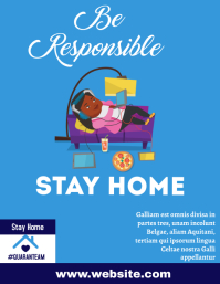 Stay home flyer design template