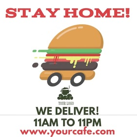 Stay Home Food Delivery Video Ad Template