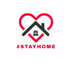 stay home logo coronavirus awareness โลโก้ template