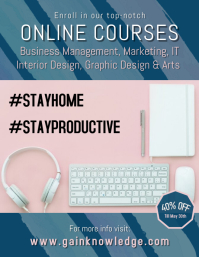 Stay Home Online Courses Flyer Template Folheto (US Letter)