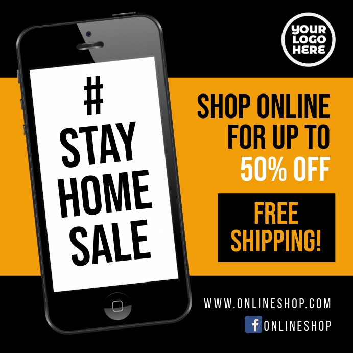 Stay Home sale #stayhome facebook square ad Publicação no Instagram template