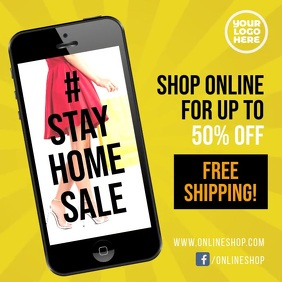 Stay Home sale #stayhome facebook video ad template