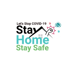Stay Home Stay Safe, Stop COVID-19, Awareness โลโก้ template