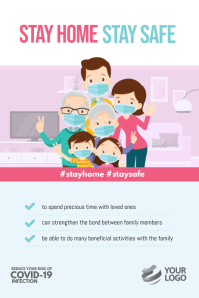 Stay Home Stay Safe Covid-19 Instagram Poster template