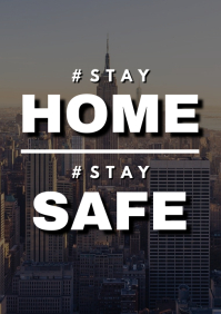 Stay home stay safe inspirational poster A3 template