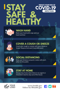 Stay Safe & Healthy Covid Awareness Poster