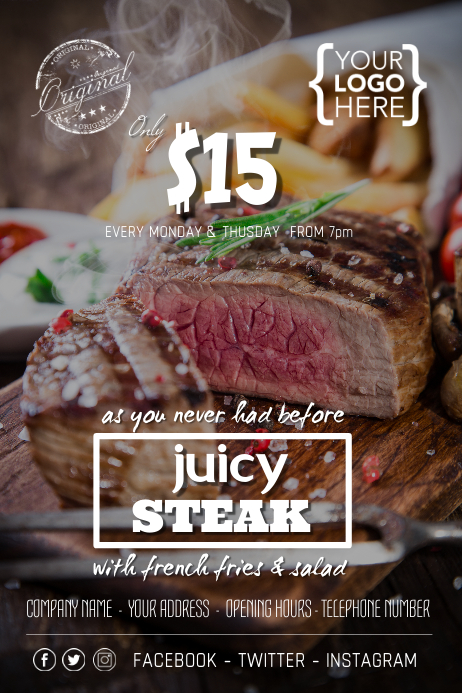Steak Fresh Juicy BBQ Offer Poster Flyer