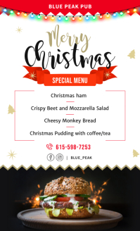 Steak House Christmas Holiday Menu Template