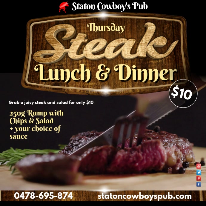 Steak Lunch & Dinner video post template