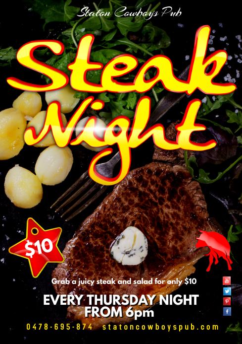 steak night poster template
