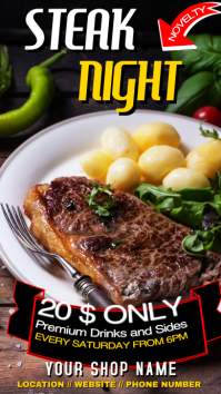 Steak Night whatsapp status advertisement เรื่องราวบน Instagram template