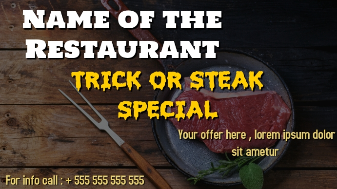 Steakhouse or restaurant event digital displa