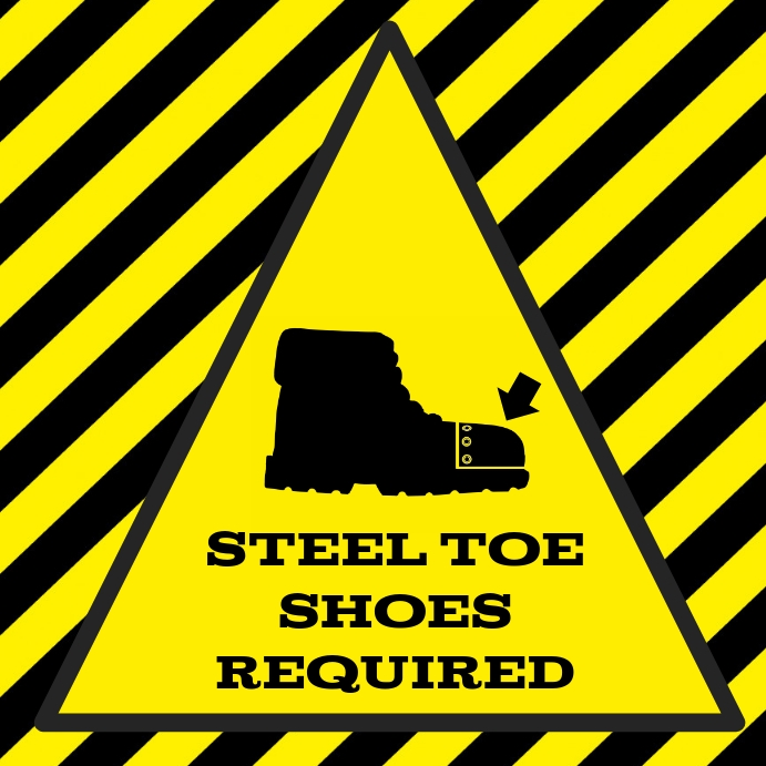 steel toe shoes - safety cap boots sign