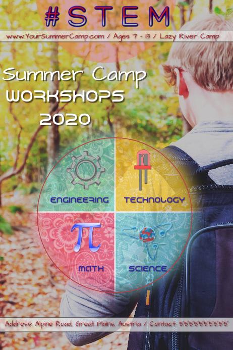 STEM workshops kids/ Science/Math/Technology/Engineering Poster template