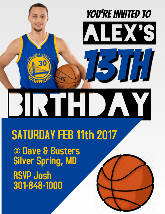 Stephen Curry Basketball Invitation