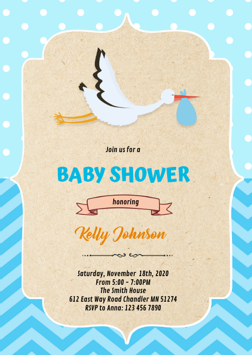 stock boy shower invitation A6 template